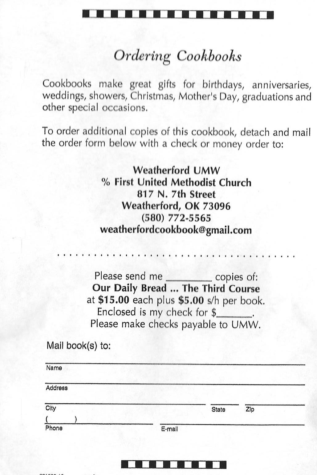 umw cookbook order form