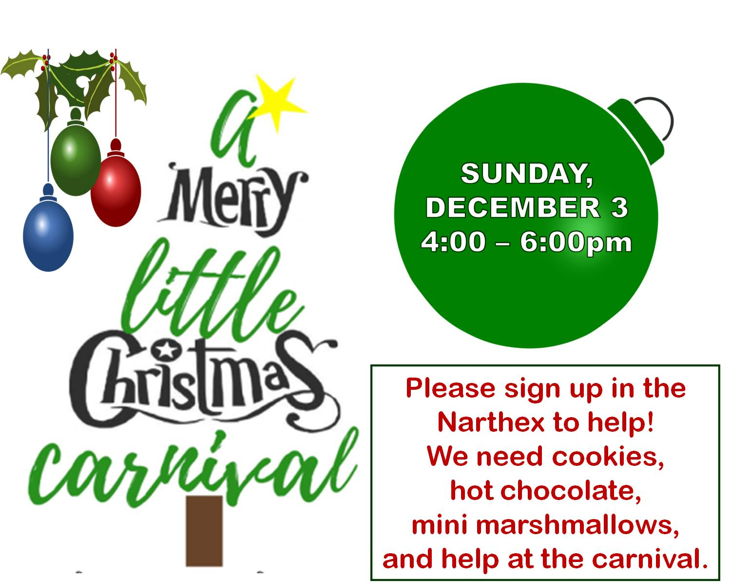 christmas carnival announcement